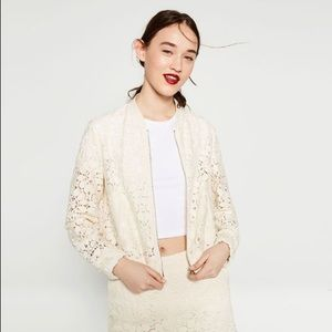 Zara Lace Bomber Jacket